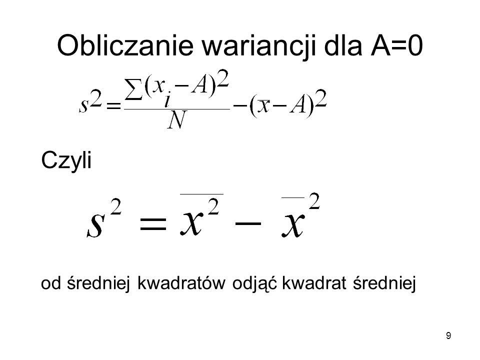Obliczanie wariancji dla A=0