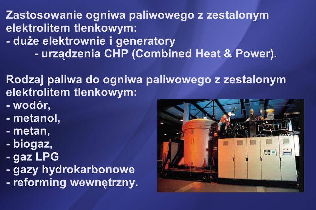 Zastosowanie ogniwa paliwowego z zestalonym elektrolitem tlenkowym: