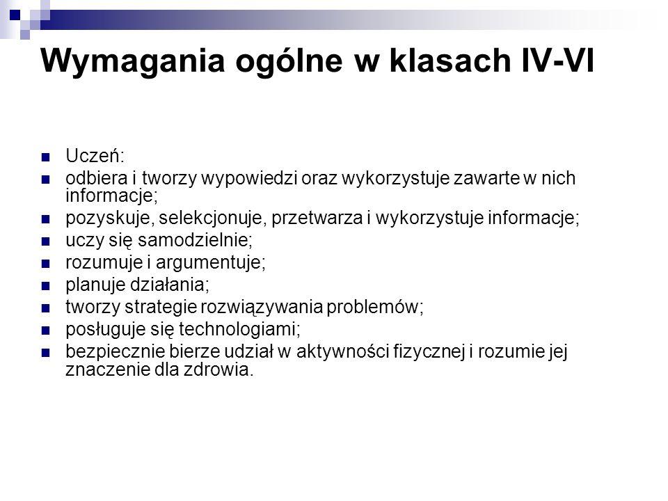 Wymagania ogólne w klasach IV-VI