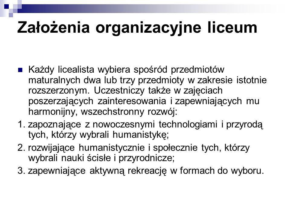 Założenia organizacyjne liceum