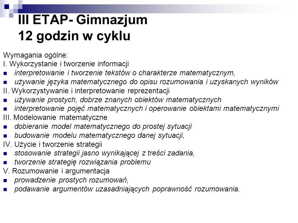 III ETAP- Gimnazjum 12 godzin w cyklu