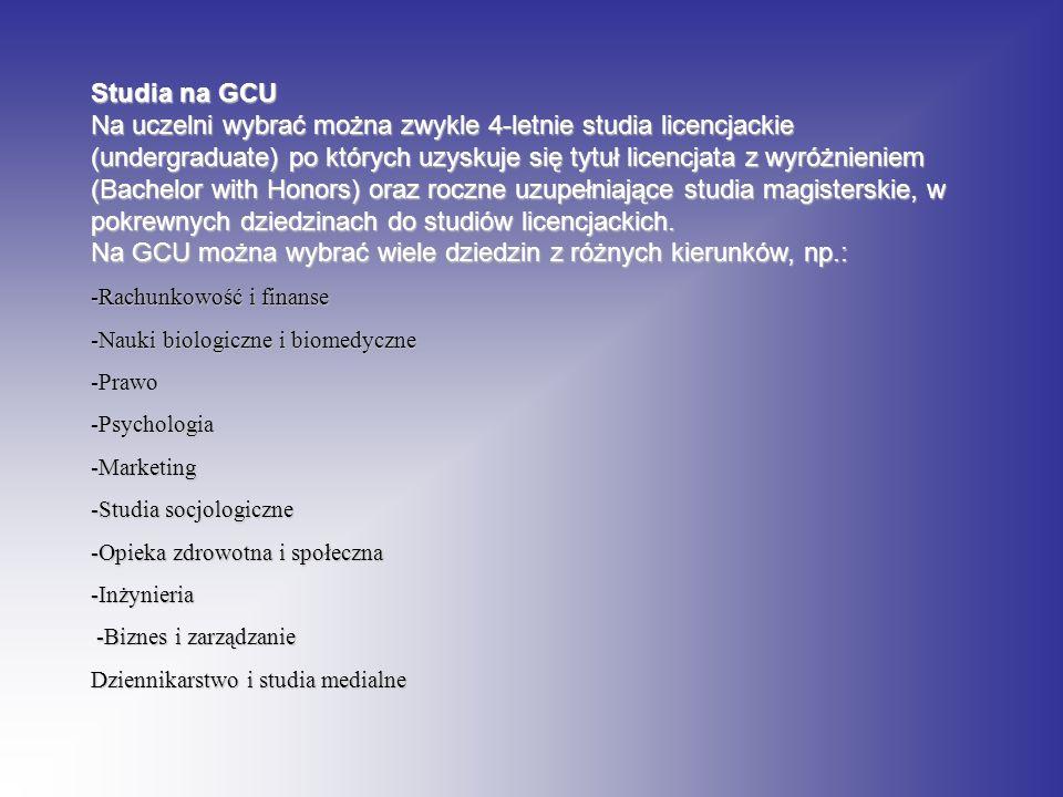 Na GCU można wybrać wiele dziedzin z różnych kierunków, np.: