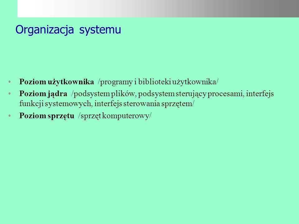 Organizacja systemu Poziom użytkownika /programy i biblioteki użytkownika/