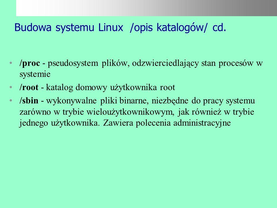Budowa systemu Linux /opis katalogów/ cd.