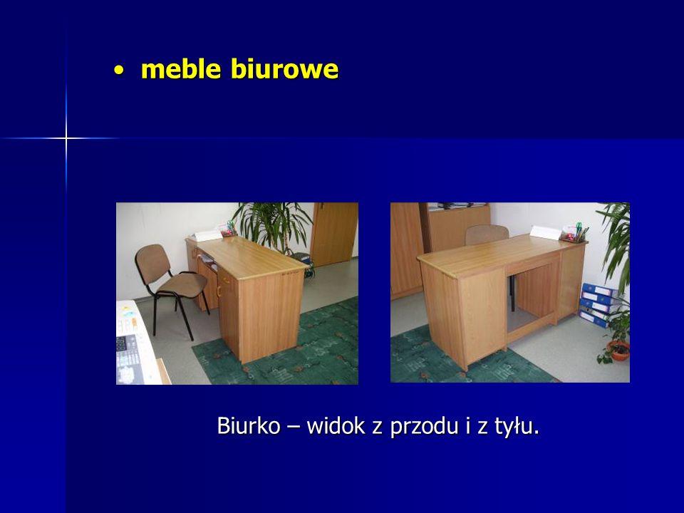 meble biurowe Biurko – widok z przodu i z tyłu.