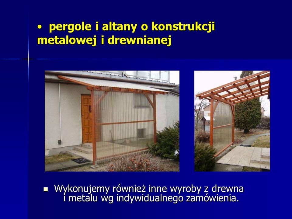pergole i altany o konstrukcji metalowej i drewnianej