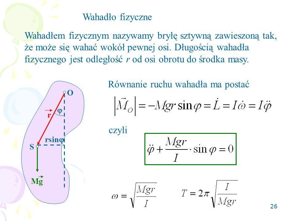 Równanie ruchu wahadła ma postać