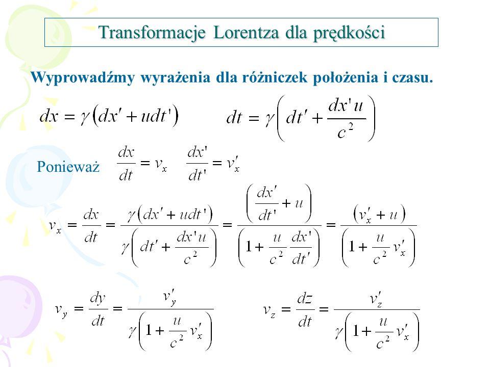 Transformacje Lorentza dla prędkości