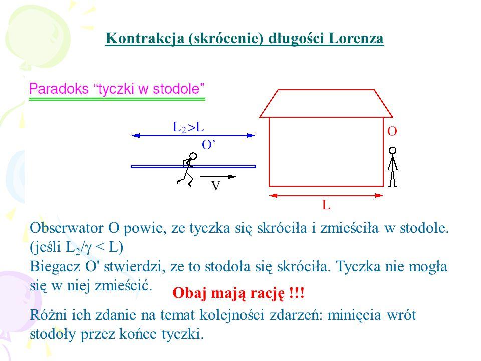 Kontrakcja (skrócenie) długości Lorenza