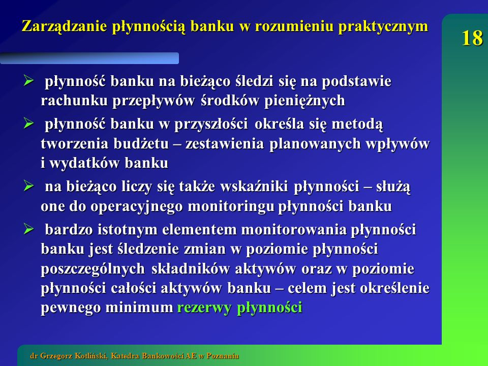 Zarządzanie płynnością banku w rozumieniu praktycznym