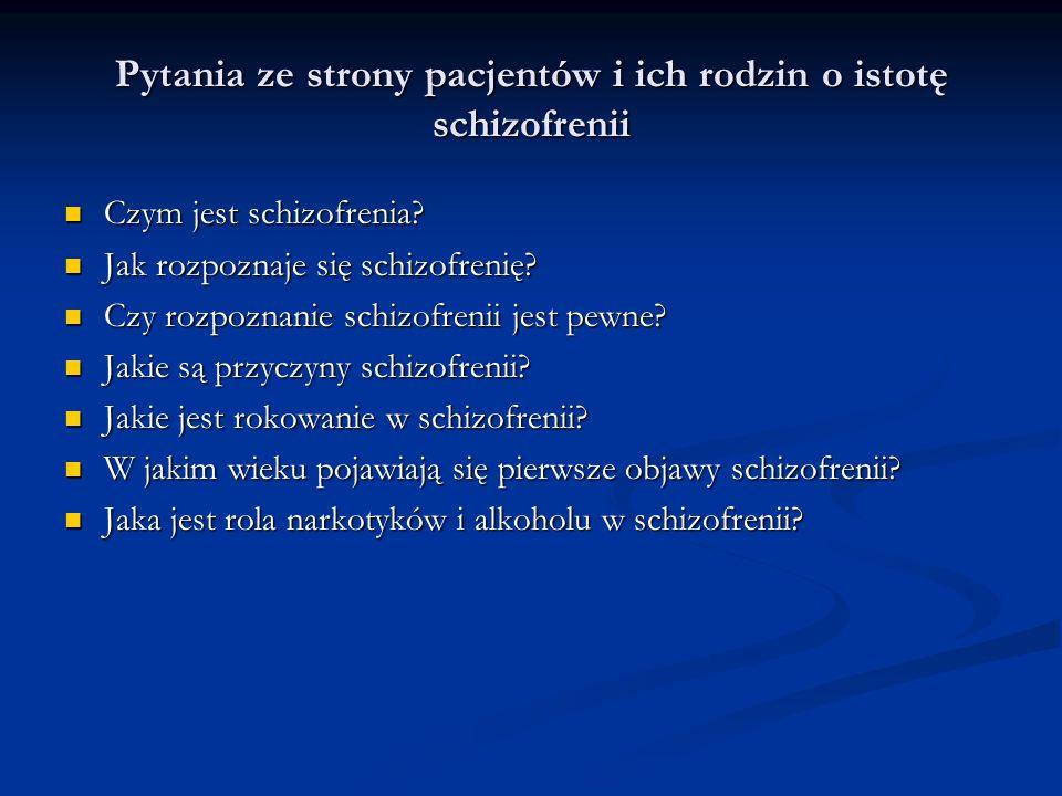 Pytania ze strony pacjentów i ich rodzin o istotę schizofrenii