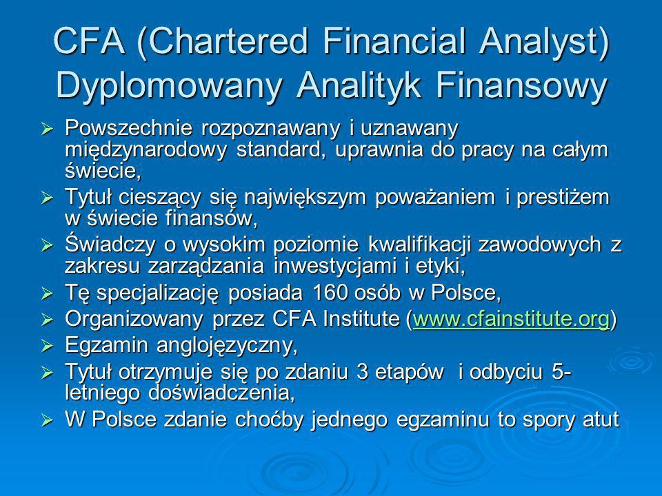 CFA (Chartered Financial Analyst) Dyplomowany Analityk Finansowy