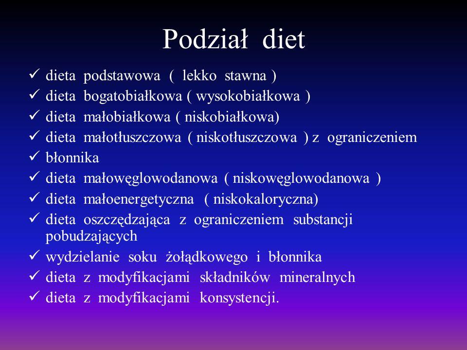 Podział diet dieta podstawowa ( lekko stawna )