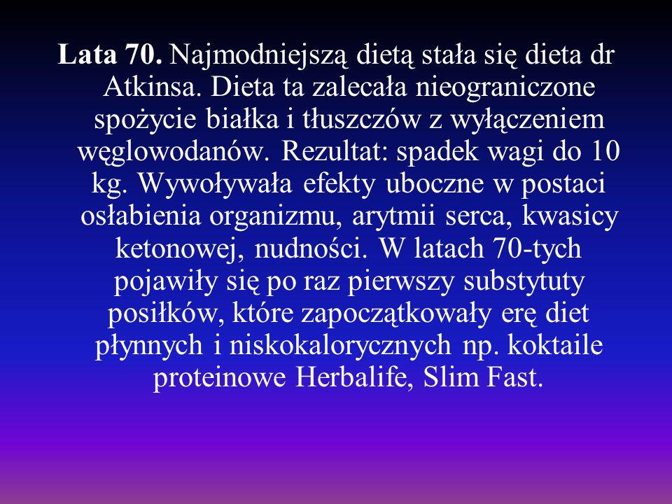 Lata 70. Najmodniejszą dietą stała się dieta dr Atkinsa