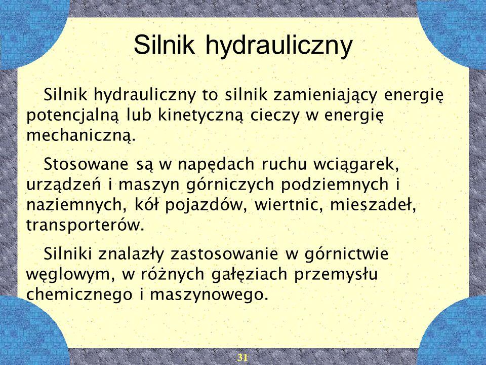 Silnik hydrauliczny Silnik hydrauliczny to silnik zamieniający energię potencjalną lub kinetyczną cieczy w energię mechaniczną.