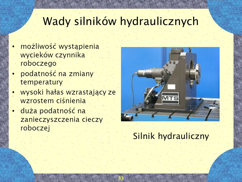 Wady silników hydraulicznych