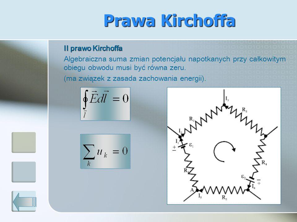 Prawa Kirchoffa (ma związek z zasada zachowania energii).