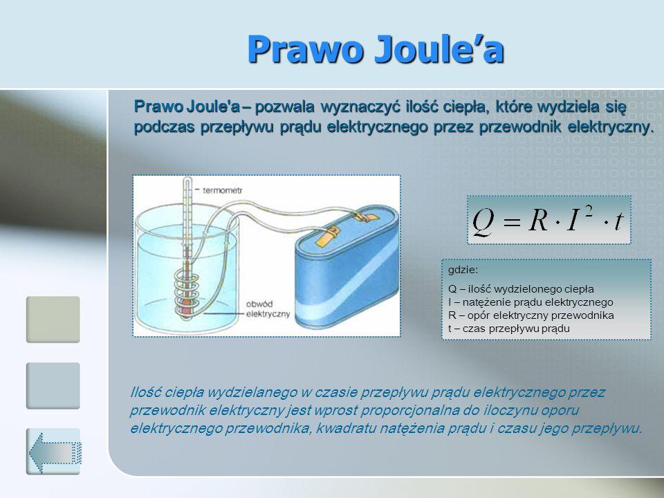 Prawo Joule'a Prawo Joule a – pozwala wyznaczyć ilość ciepła, które wydziela się podczas przepływu prądu elektrycznego przez przewodnik elektryczny.
