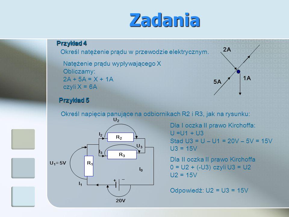 Zadania Przykład 4 Określ natężenie prądu w przewodzie elektrycznym.