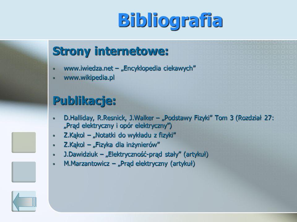 Bibliografia Strony internetowe: Publikacje: