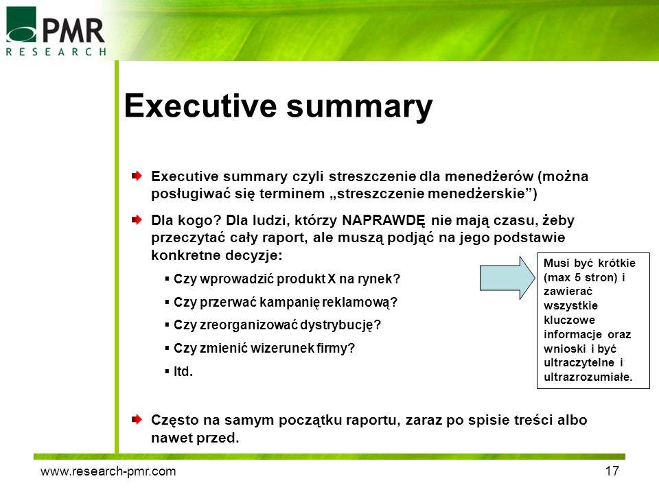 """Executive summary Executive summary czyli streszczenie dla menedżerów (można posługiwać się terminem """"streszczenie menedżerskie )"""