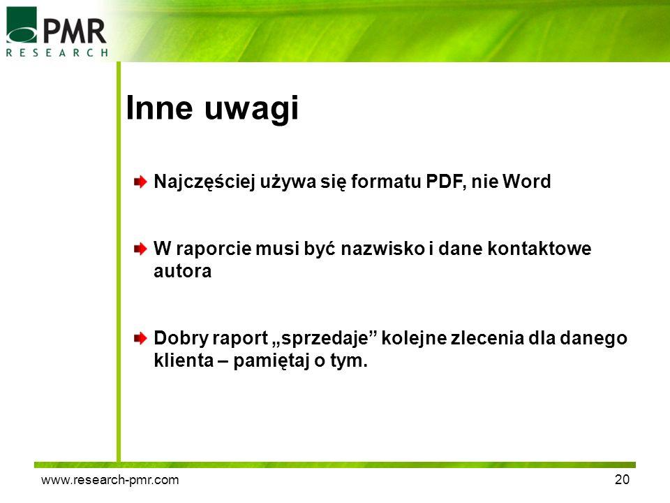 Inne uwagi Najczęściej używa się formatu PDF, nie Word
