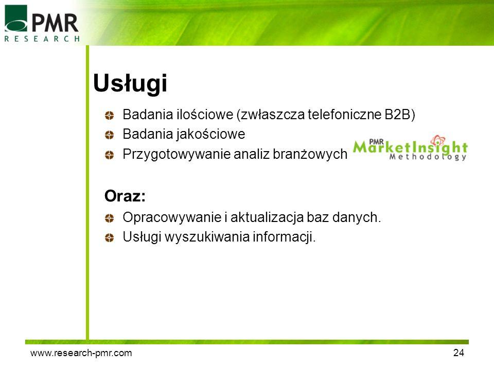Usługi Oraz: Badania ilościowe (zwłaszcza telefoniczne B2B)