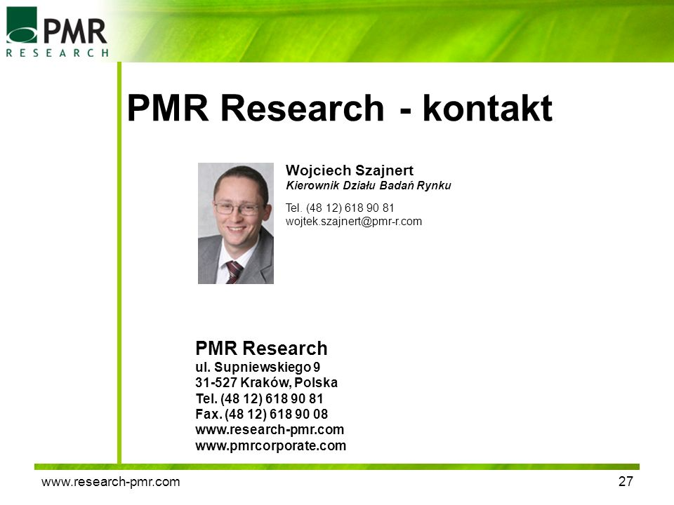 PMR Research - kontakt PMR Research Wojciech Szajnert