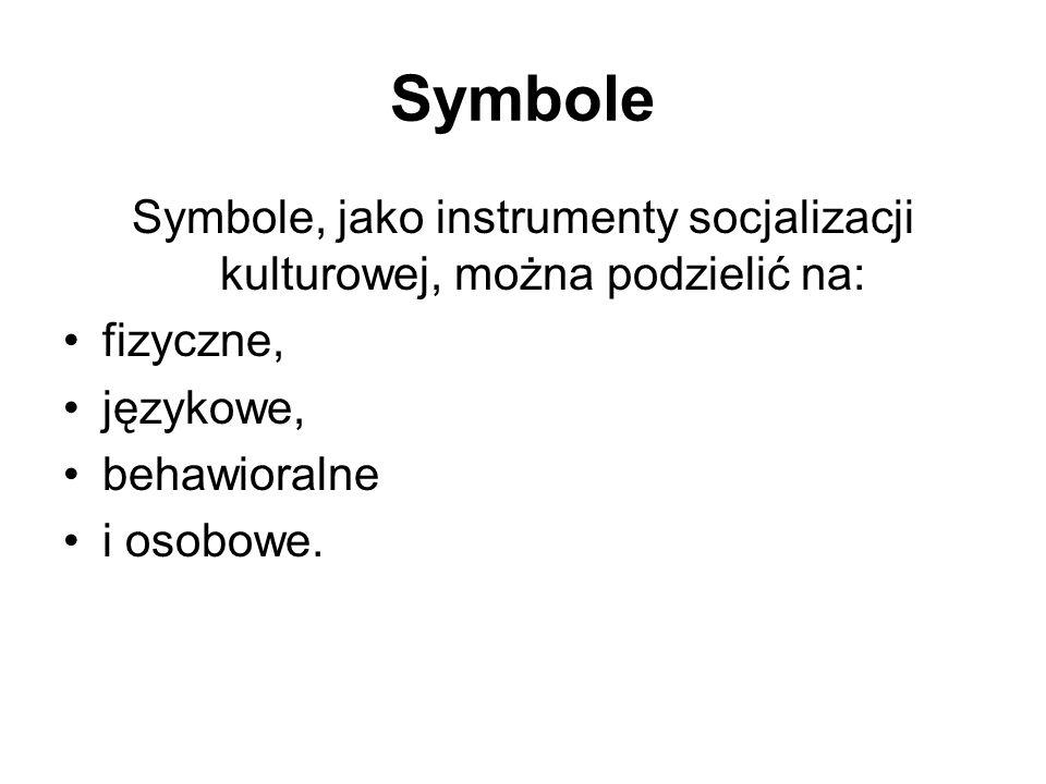 Symbole, jako instrumenty socjalizacji kulturowej, można podzielić na: