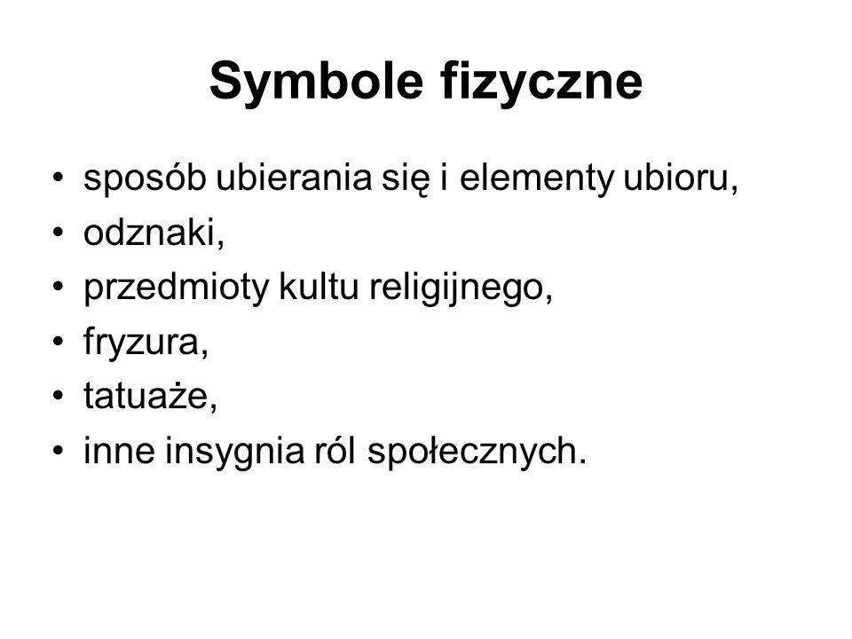 Symbole fizyczne sposób ubierania się i elementy ubioru, odznaki,