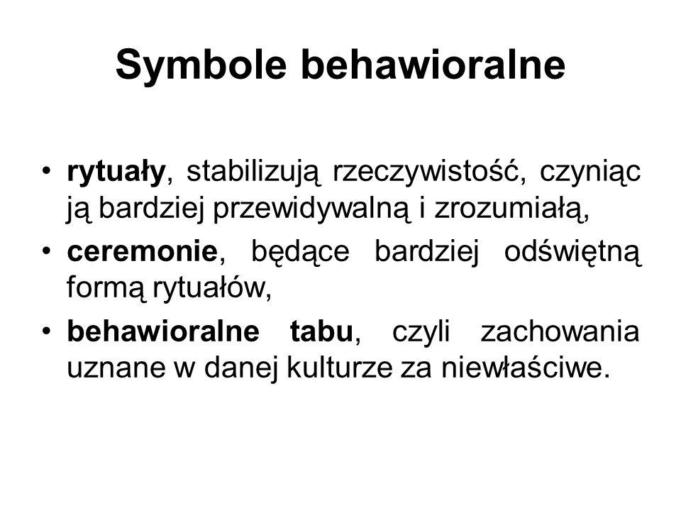 Symbole behawioralne rytuały, stabilizują rzeczywistość, czyniąc ją bardziej przewidywalną i zrozumiałą,