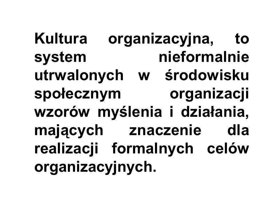 Kultura organizacyjna, to system nieformalnie utrwalonych w środowisku społecznym organizacji wzorów myślenia i działania, mających znaczenie dla realizacji formalnych celów organizacyjnych.