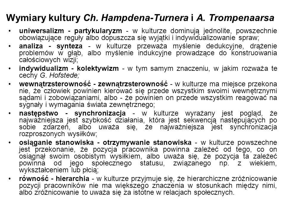 Wymiary kultury Ch. Hampdena-Turnera i A. Trompenaarsa