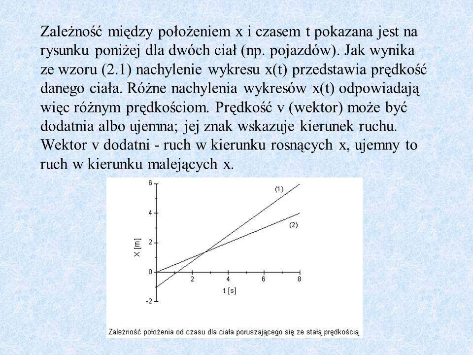 Zależność między położeniem x i czasem t pokazana jest na rysunku poniżej dla dwóch ciał (np.