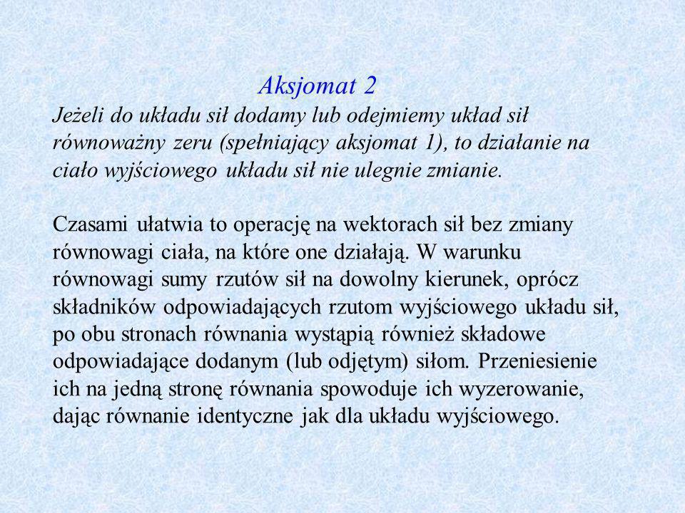 Aksjomat 2 Jeżeli do układu sił dodamy lub odejmiemy układ sił równoważny zeru (spełniający aksjomat 1), to działanie na ciało wyjściowego układu sił nie ulegnie zmianie.