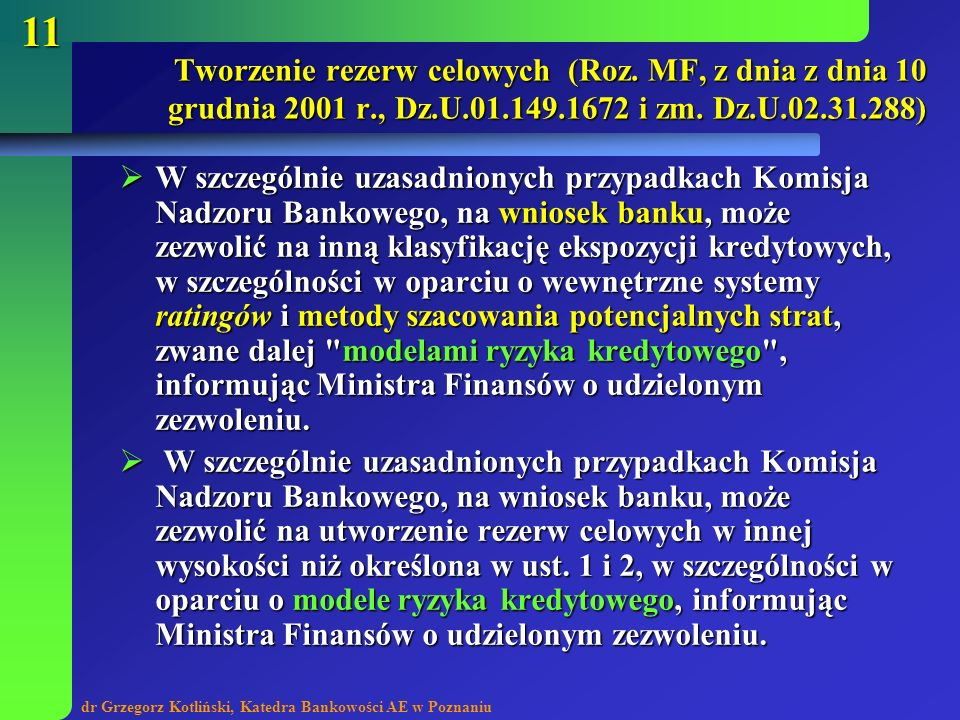 Tworzenie rezerw celowych (Roz. MF, z dnia z dnia 10 grudnia 2001 r