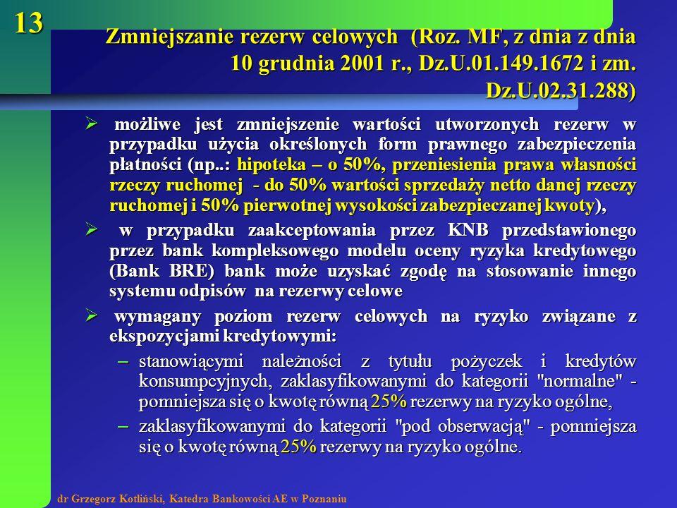 Zmniejszanie rezerw celowych (Roz. MF, z dnia z dnia 10 grudnia 2001 r