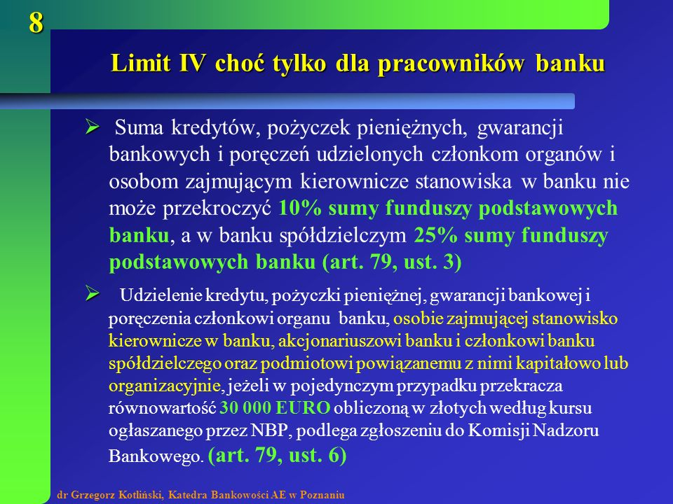 Limit IV choć tylko dla pracowników banku