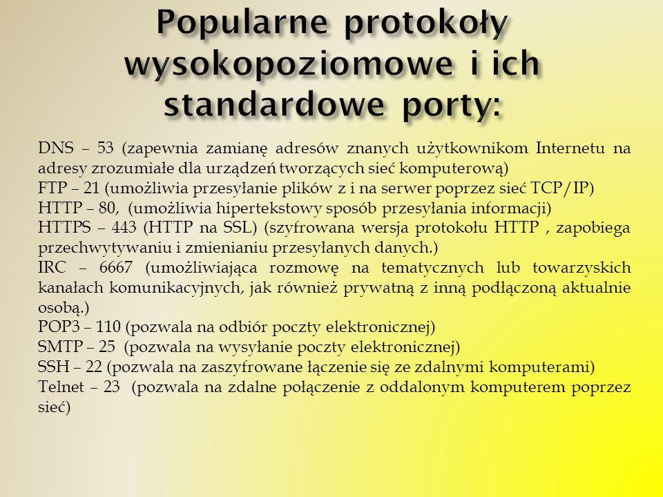 Popularne protokoły wysokopoziomowe i ich standardowe porty: