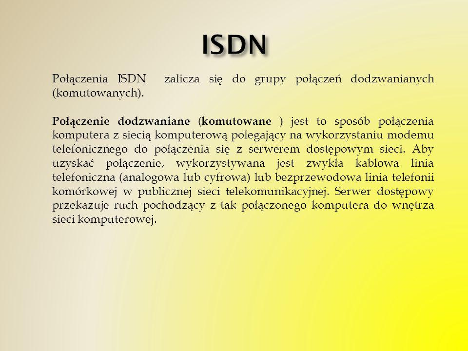ISDN Połączenia ISDN zalicza się do grupy połączeń dodzwanianych (komutowanych).