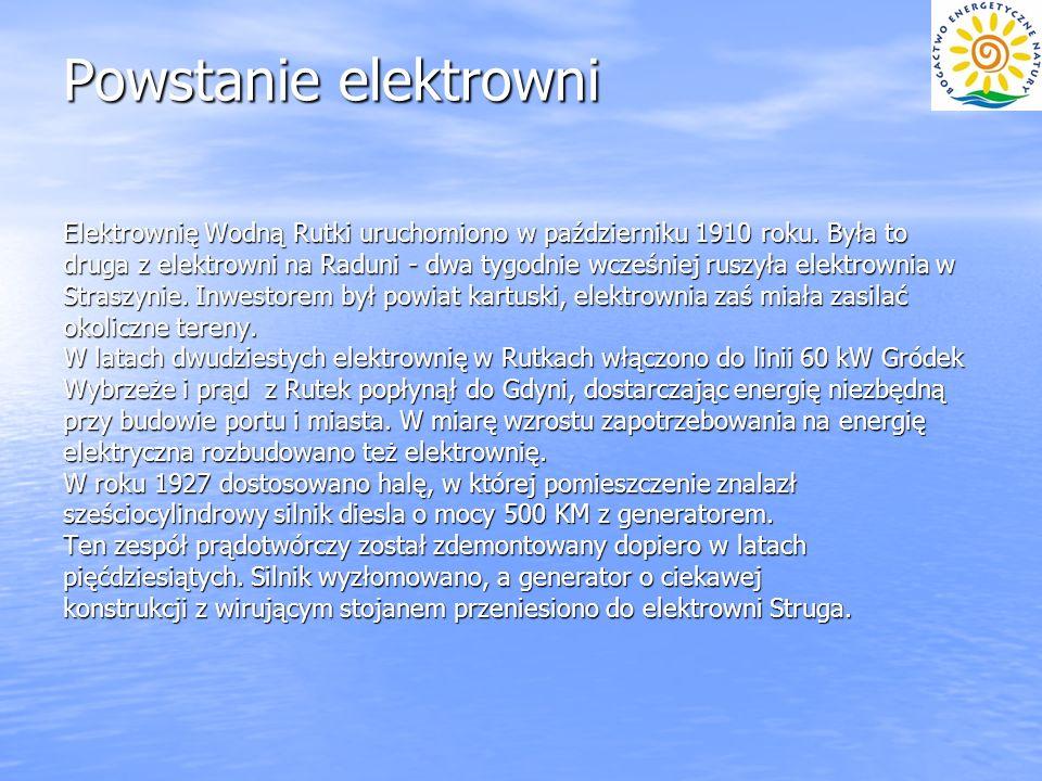 Powstanie elektrowni Elektrownię Wodną Rutki uruchomiono w październiku 1910 roku. Była to.
