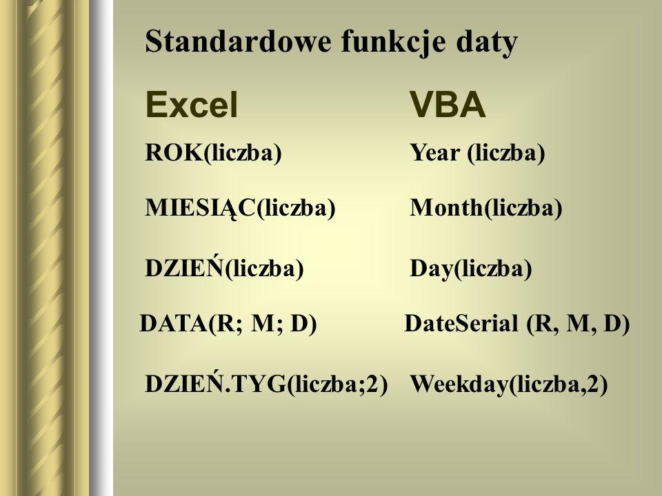 Excel VBA Standardowe funkcje daty ROK(liczba) Year (liczba)