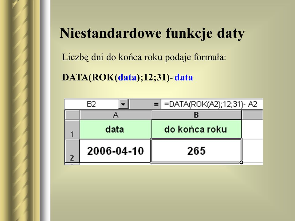 Niestandardowe funkcje daty