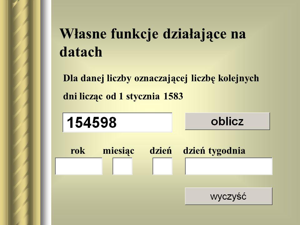 Własne funkcje działające na datach