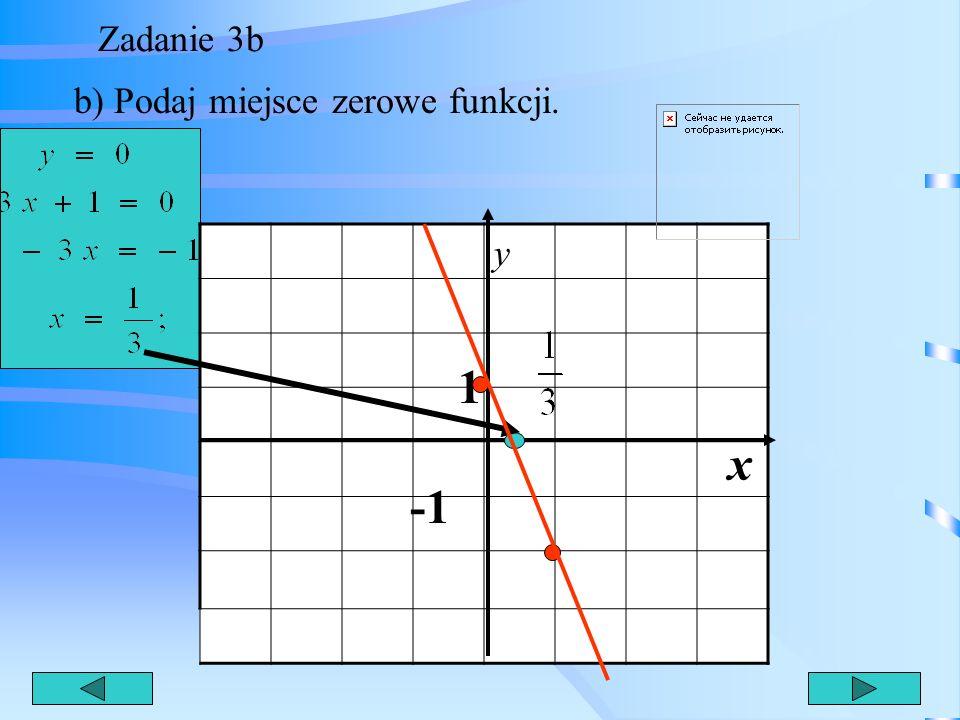 Zadanie 3b b) Podaj miejsce zerowe funkcji. y 1 x -1