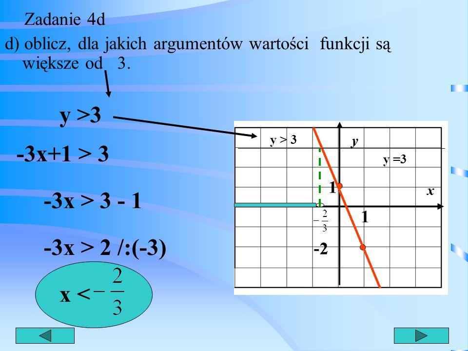 y >3 -3x+1 > 3 -3x > 3 - 1 -3x > 2 /:(-3) x <