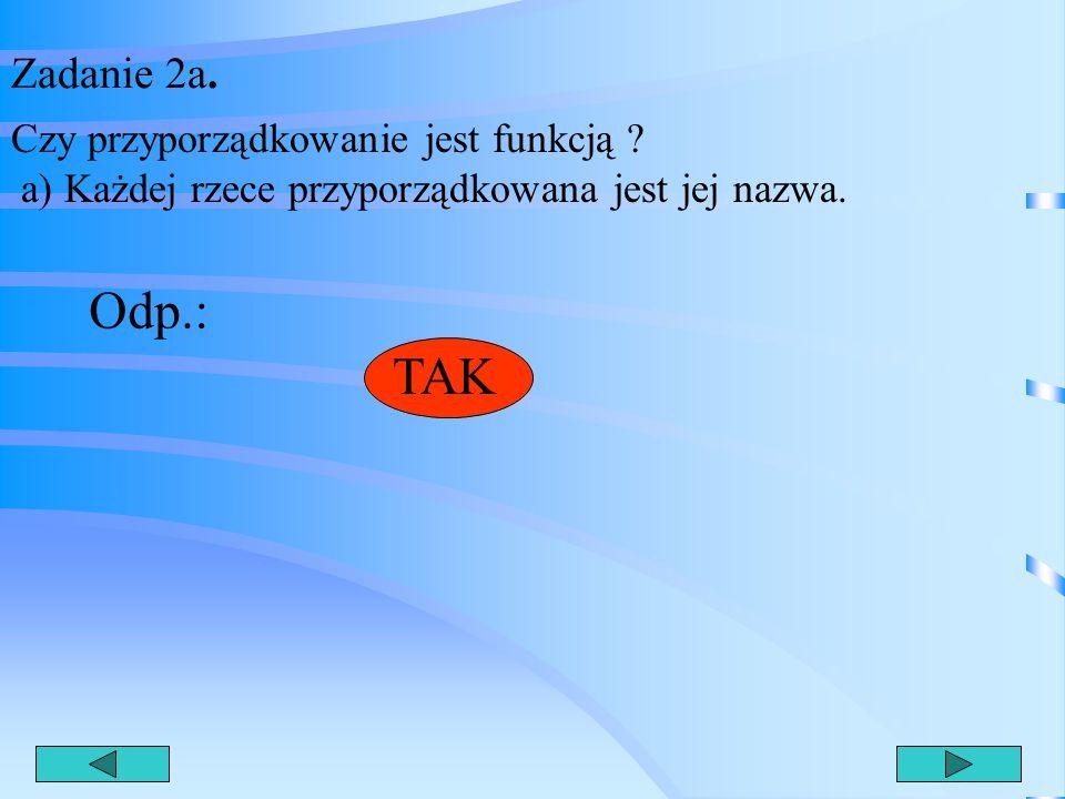 Zadanie 2a. Czy przyporządkowanie jest funkcją a) Każdej rzece przyporządkowana jest jej nazwa. Odp.: