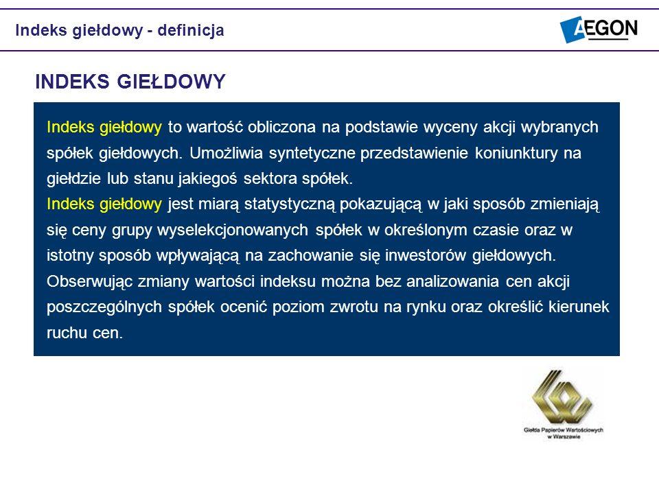 INDEKS GIEŁDOWY Indeks giełdowy - definicja
