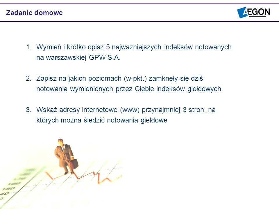 Zadanie domoweWymień i krótko opisz 5 najważniejszych indeksów notowanych na warszawskiej GPW S.A.