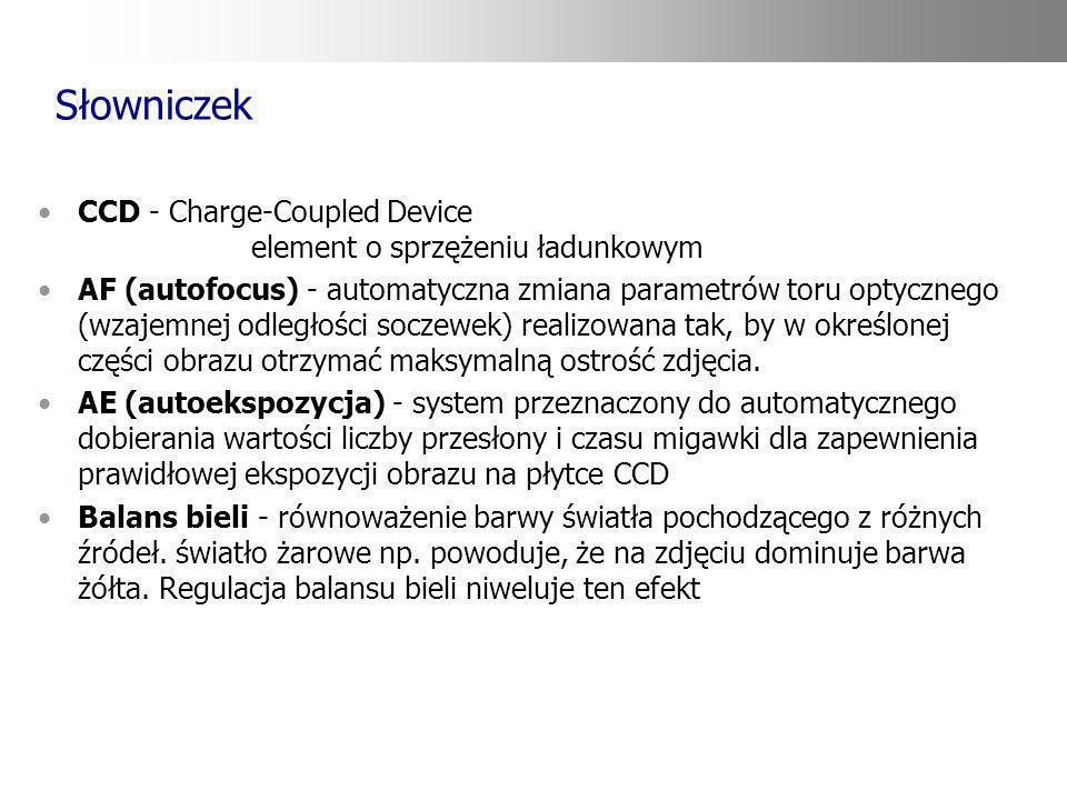 Słowniczek CCD - Charge-Coupled Device element o sprzężeniu ładunkowym